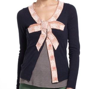 Anthropologie MOTH Intarsia Bow Navy Cardigan med